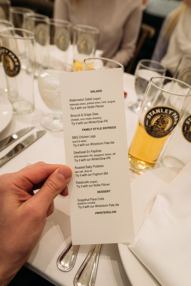 winterglow IPA stanley park brewing family dinner craft beer BC