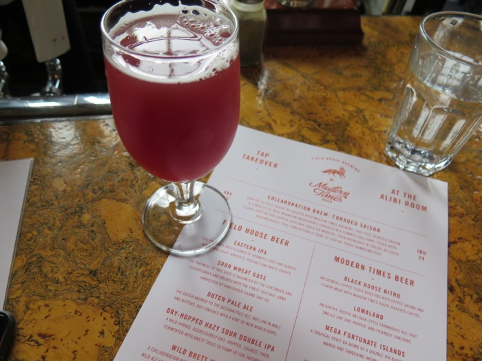 foraged saison craft beer Field House Brewing Modern Times Beer Alibi Room Vancouver