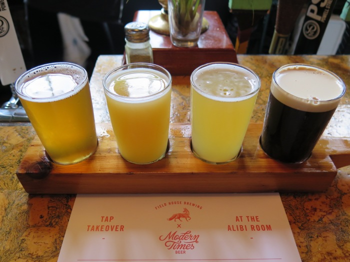 beer flight craft beer Alibi Room Vancouver Modern Times Beer Field House Brewing Abbotsford