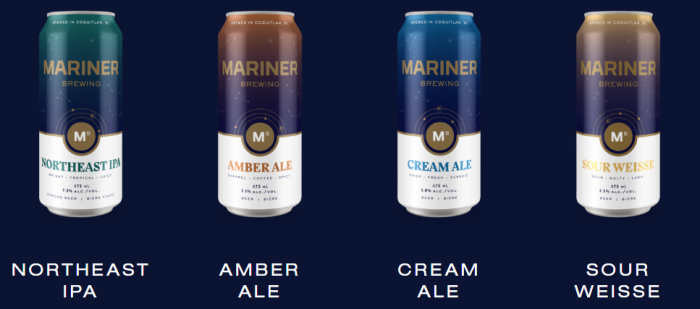 mariner brewing craft beer cans graphic design IPA amber ale cream ale sour weisse new brewery vanpours