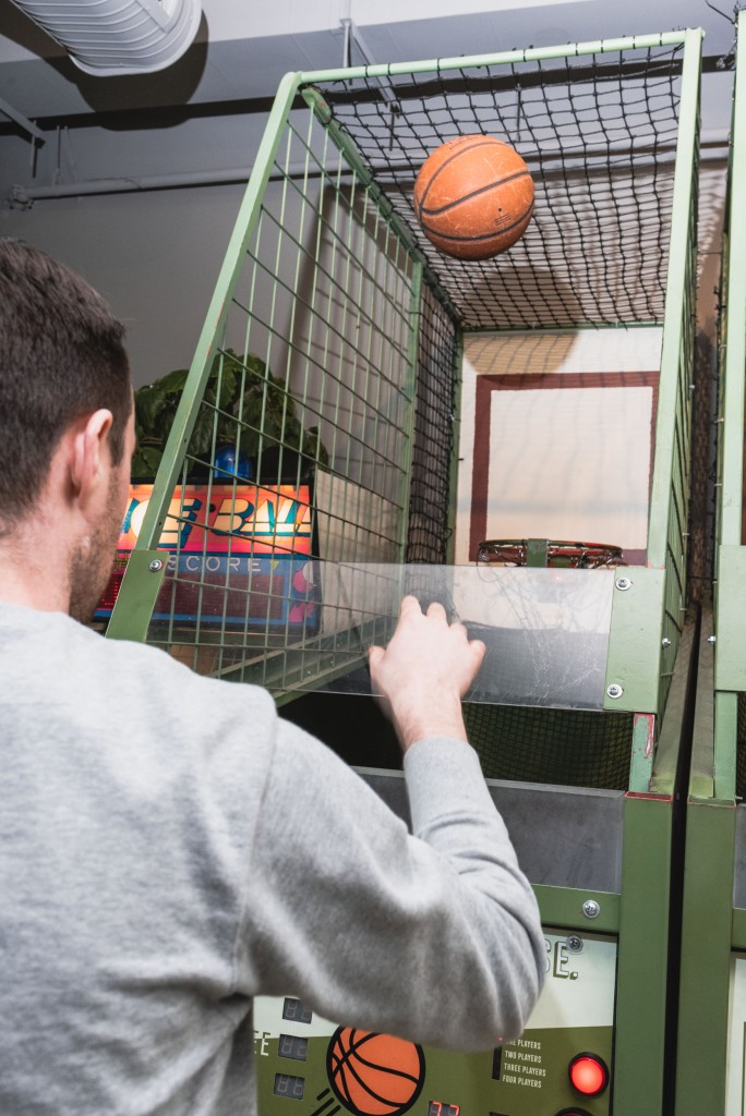 Shooting hoops at Bells and Whistles.