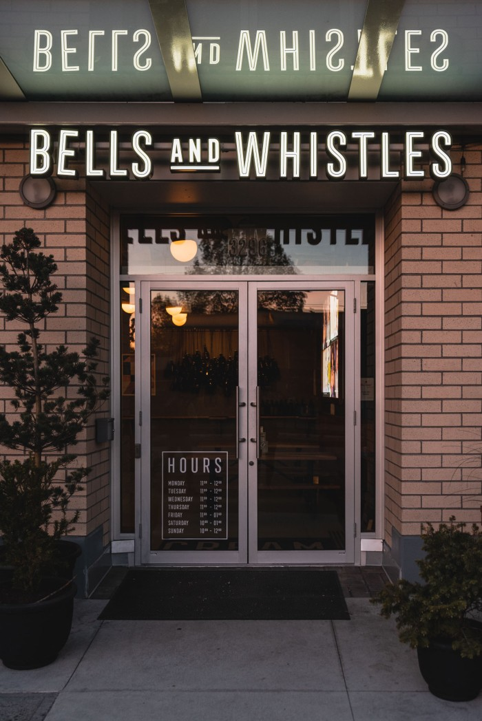 The entrance of Bells and Whistles.